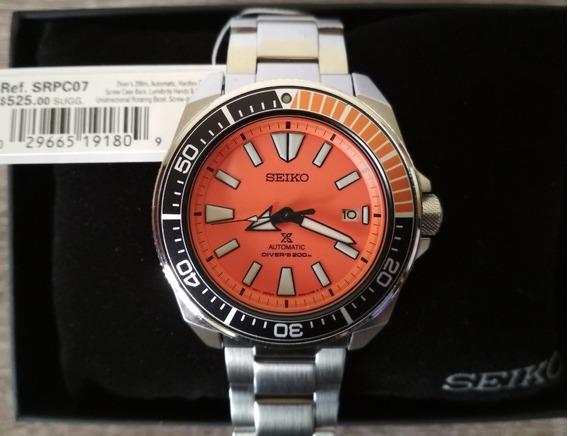 Reloj Seiko Samurai Naranja Srpc07 Nuevo 100% Original
