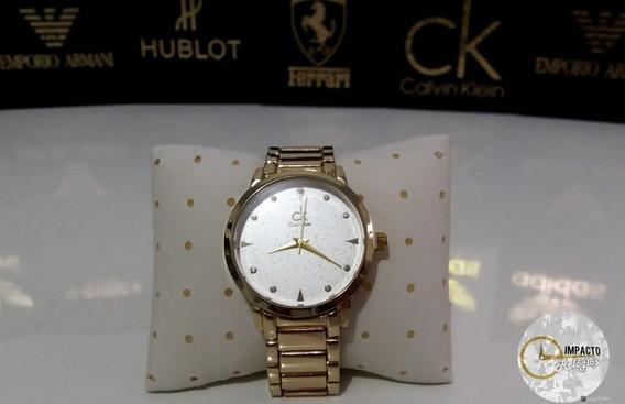 Relógio Feminino Ck Dourado Elegance