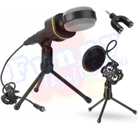 Microfone Condensador Multimídia Tomate Mt-1021 Adaptador P3 (p2 Combo) Pop Filter Mt-1024