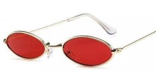 Óculos Oval Redondo Pequeno Trap Hype Retro Vermelho Preto