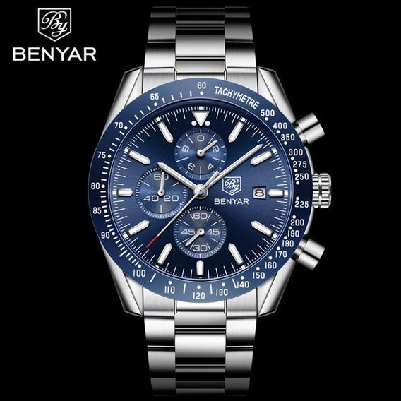 Relógio Masculino Benyar 5140 Aço Inoxidável Promoção Novo !