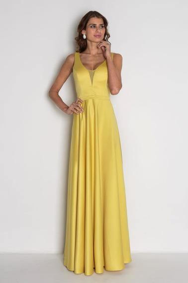 Vestido Longo Verde Marsala Rosa Ou Amarelo