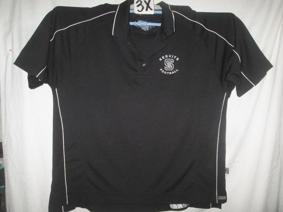 Camiseta Negra Tipo Polo Polyester Talla 3x Prosport