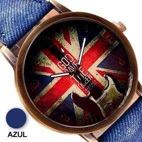 Relógio Vintage Bandeira Inglaterra Pulseira Tecido Azul