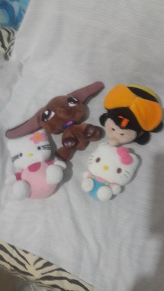 Bonecos De Pelúcia- Hello Kitty E Pet Shop (lote Com Quatro)