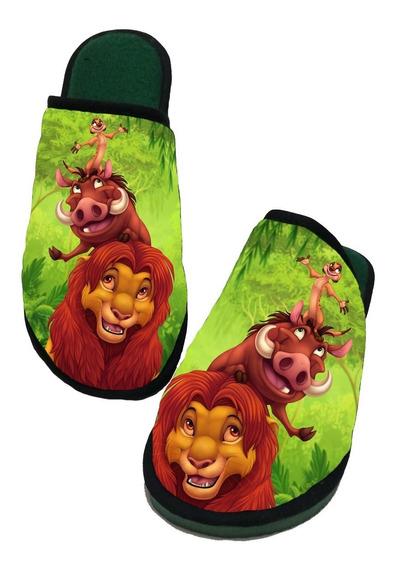 Pantufa Rei Leão - Personalizada Sola De Borracha