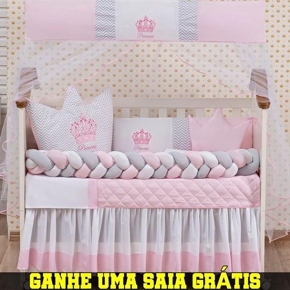 Kit Berço Trança Coroa Menina Menino 12 Peças Com Saia Box