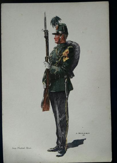 Postal Antiguo Soldado Con Unifome Militar Belga