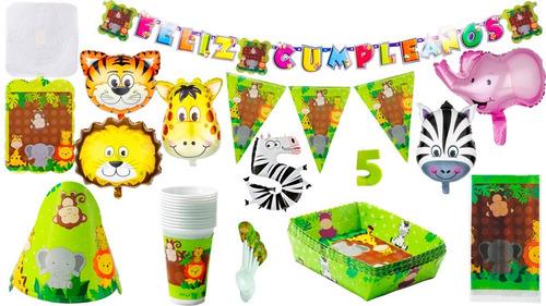 Kit Decoración Fiesta Infantil Animales De La Selva (zafari)
