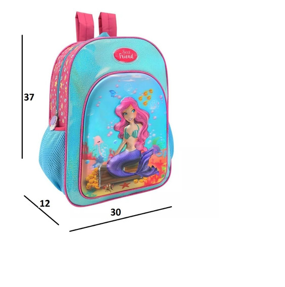 Mochila Escolar Grande Sea Friend Sereia 3 D Colorizi