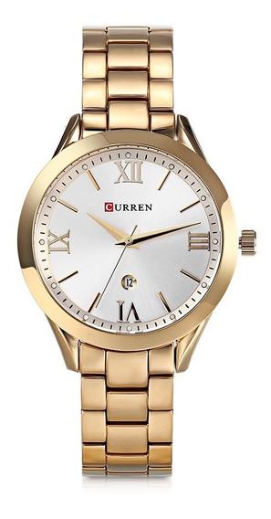 Relógio Feminino Dourado Curren 9007 Quartzo Original