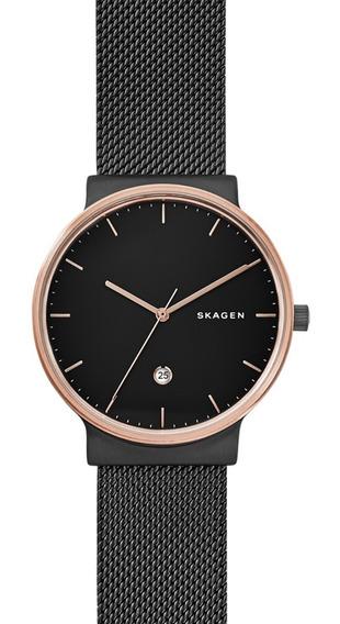 Reloj Caballero Skagen Ancher Skw6296 Color Negro De Acero