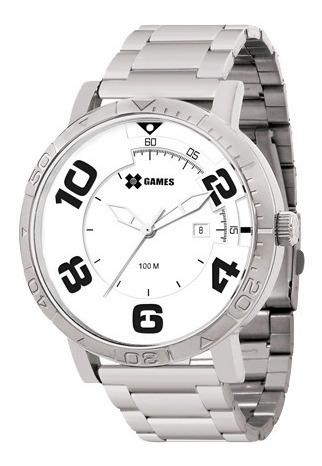 Relógio Xgames Original Fundo Branco Com Calendário