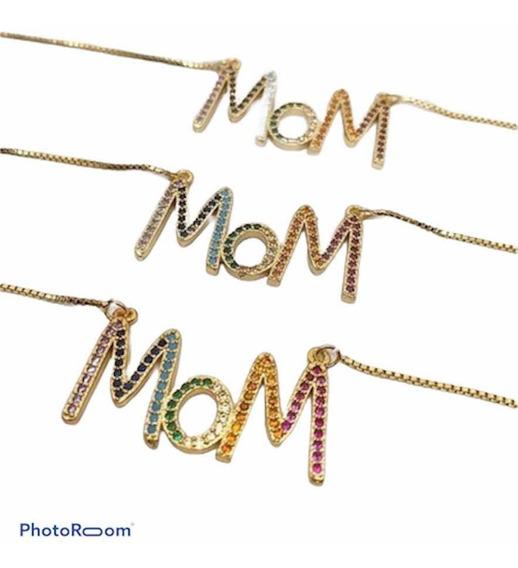 Collar Mama, Mom Arcoiris Rainbow Regalo Dia De Las Madres