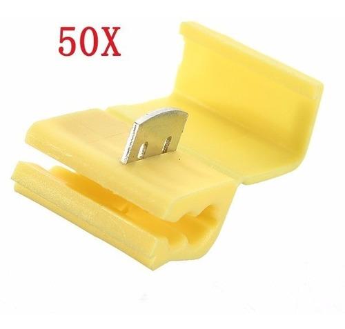 50pçs Conector Derivação Emenda Cabos Fios Amarelo 4 A 6mm