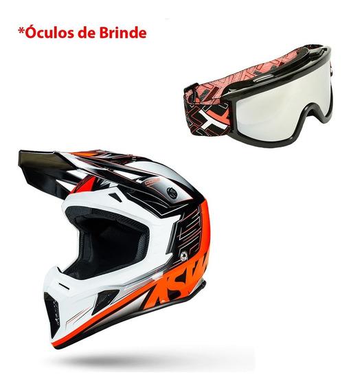 Capacete Motocross Asw Core Rush 2019 Trilha + Óculos Brinde