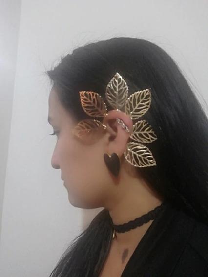 Grampo Piercing Orelha Brinco Folhas Ear Cuf Conch Dourado