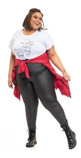 Pré Venda Legging Plus Size Joana Dark Glossy Preta