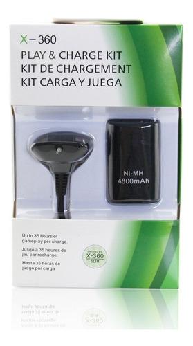 Kit Carga Y Juega Bateria Y Cable Joystick Xbox 360 Negro
