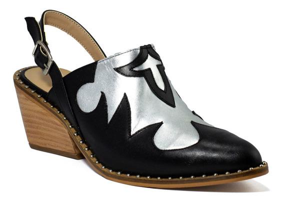 Zapatos Mujer Gravagna Zuecos Texanas Charritos Cuero Vacuno