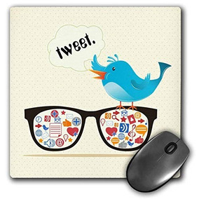 3drose Llc 8 X 8 X 0.25 Pulgadas Geek Social Media...