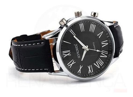 Relógio Masculino De Pulso Sanwood Pulseira Couro Sintético
