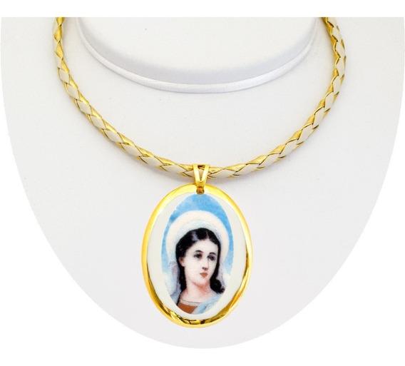 Corrente Com Pingente Fé Santa Luzia Ouro Design Medalhas