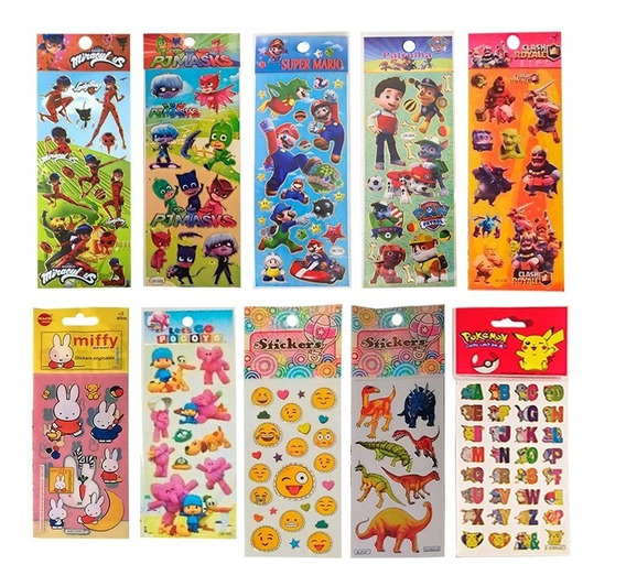 Stickers Infantiles Personajes X10 Planchas Calcos Souvenir