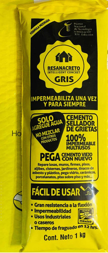 Resanacreto Gris 1 Kg , Impermeabiliza Y Sella Grietasfácil!