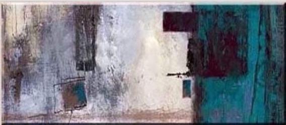 Quadro Pintura Tela Abstrato Azul Turquesa Cinza 80x180 Cm