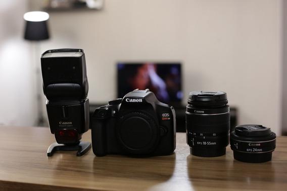 Câmera Canon T6, Flash 430 Exii, Lente Canon 18-55mm E 24mm