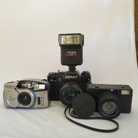 3 Câmeras Analógicas Zenit 12xp/olympus Zoom / Lomo Fisheye1