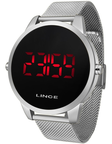 Relógio Masculino Prata Digital Lince Led Vermelho Mdm4586l