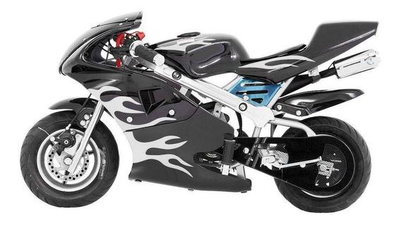 Mini Moto Speed Preta Gasolina Motor 49cc 2 Tempos Importway