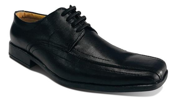 Zapato Formal Cuero Negro Elegante Amarrar
