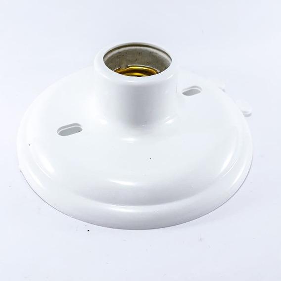 Plafon Base Plastico E Bocal De Porcalana Branco E-27 100w