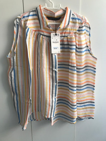 Blusa Bata Zara Woman Alfaiatar Listras Color Tam G