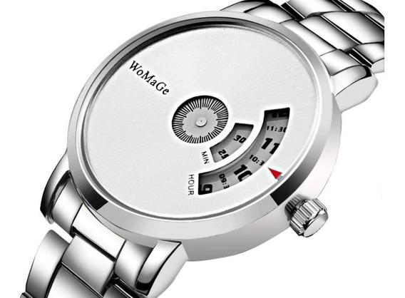 Relógio Masculino Womage Designer De Moda Quartzo Branco