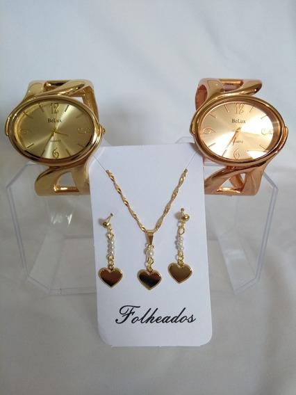 Kit Feminino= 2 Relógios + Corrente E Brinco Banho Ouro 18k