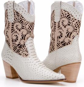 Bota Feminina Country Cano Curto Texana Couro Capelli Boots