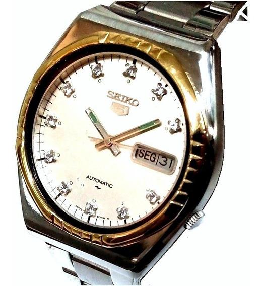 Relógio Automático Seiko 5 Vintage Silver Diamond 7009-8540