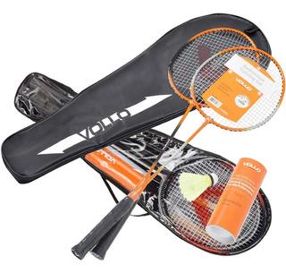 Kit Badminton 4 Raquetes, 6 Petecas, Bolsa-raqueteira Vollo