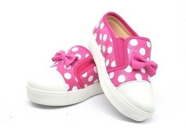 Tênis Casual Menina Corino Pink Póa Branco