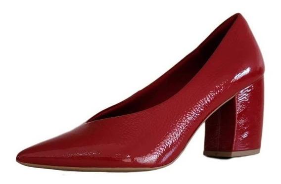 Sapato Usaflex Vermelho Confortável Bico Fino 2408 Compre!