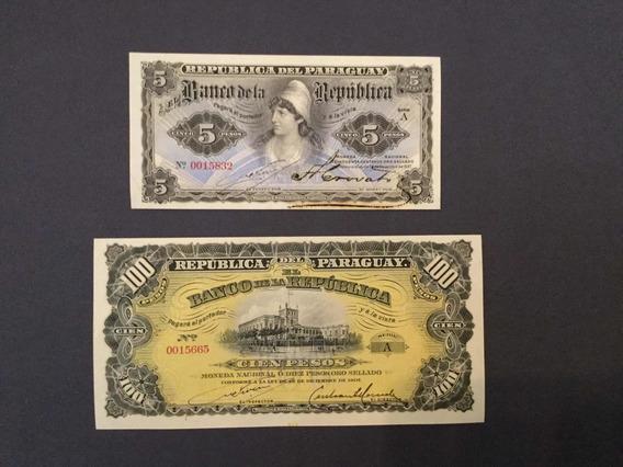 Paraguaí 1907 Cédula De 5 E 100 Pesos Ouro Original Fe