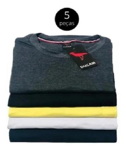 Imagem 1 de 2 de Kit Camisetas Masculinas 5 Camisas Basica Gola Redonda