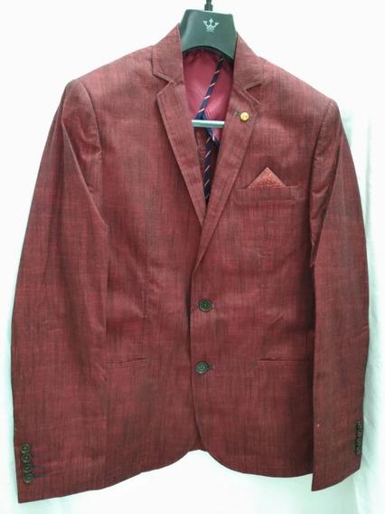 Blazer 44/ 46 Masculino Slim Docthos - 12947 Vermelho Escuro