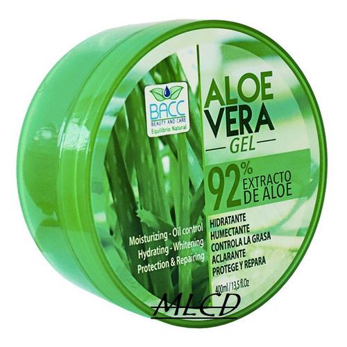 Gel Aloe Vera Bacc 92% Extracto Humecta Antigrasa X 400ml