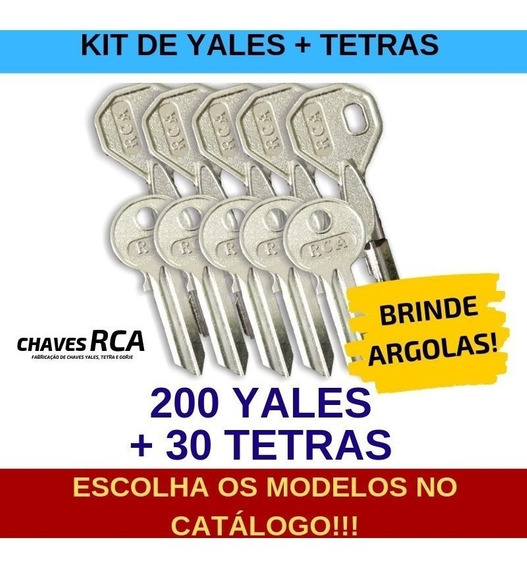 Kit De 200 Chaves Yales + 30 Chaves Tetras Virgens - Rca