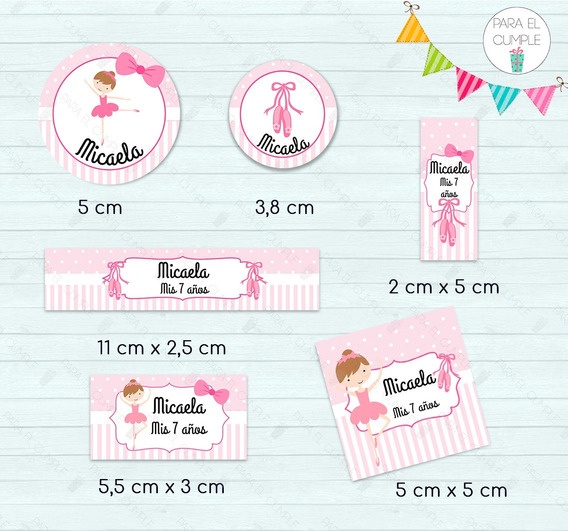 Stickers Etiquetas Candy Bar Bailarinas Cortados Kit X120u